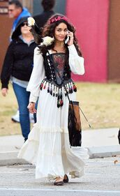bag,dress,maxi dress,boho dress,vanessa hudgens,fringes,fringed bag,hair accessory,hair