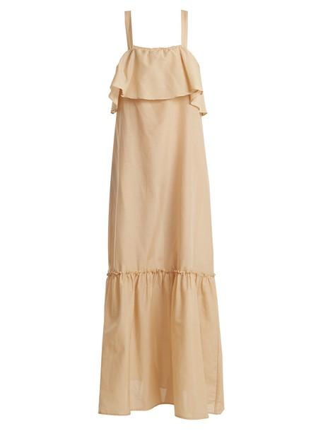 POUR LES FEMMES dress ruffle cotton silk light brown