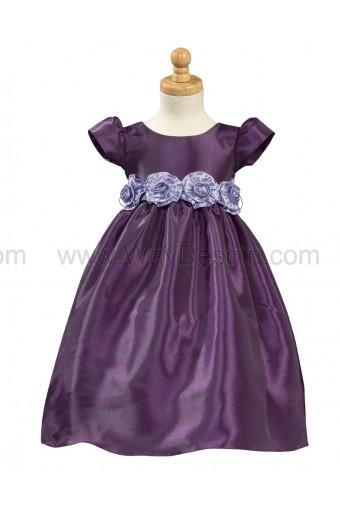 Purple Taffeta Dress Detachable Flowered Sash