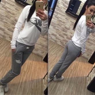 jumpsuit white grey romper joggers sport suit nike sweater sweatshirt hoodie pants nike sweater nike sweatshirt shirt cute workout clothes women