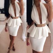 dress,white dress,v neck dress,shoes,belt,clothes,peplum dress,summer,mini dress,classy dress,jewels,skirt,white,low cut dress,ebonylace.storenvy,ebonylace-streetfashion,bodycon,low rise,mini,short,hot,peplum,halterneck,aliexpress,belted dress