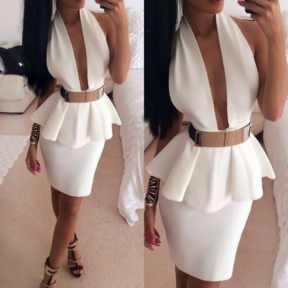 dress white dress ruffles split middle belt deep v neck dress shoes belt white pelplum dress gold belt short party dresses white back open dress