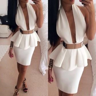 shoes belt dress white dress deep v neck dress white gold belt pelplum dress short party dresses white back open dress split middle ruffles gold belt dress the middle