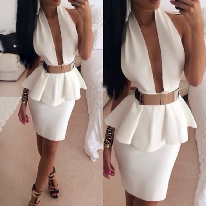 dress shoes belt white dress deep v neck dress white pelplum dress gold belt short party dresses white back open dress split middle ruffles belt gold belt dress the middle