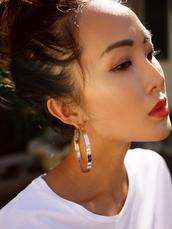 jewels,tumblr,jewelry,accessories,Accessory,earrings,hoop earrings,silver jewelry,silver earrings,make-up,red lipstick,lipstick
