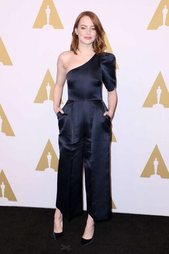 jumpsuit one shoulder emma stone satin navy oscars 2017 pants top oscars