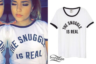 t-shirt becky g the snuggle is real snuggle sleepwear white black letters pajama top