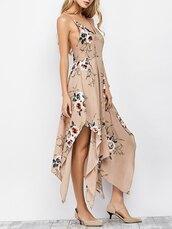 dress,apricot dress,peach dress,nude dress,floral dress,floral,maxi dress,slip dress,casual dress,handkerchief dress