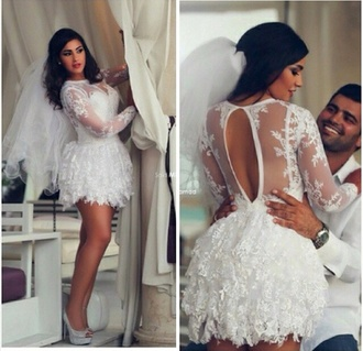 lace wedding dress all white everything wedding pretty white dress short dress short short wedding dress court house wedding dress court house court house wedding lace dress white dress wedding dress dress