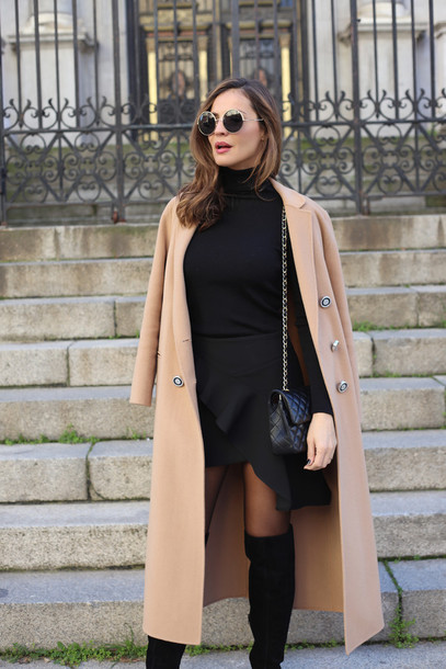 8a09263b5610 lady addict blogger top blouse coat beige coat winter outfits mini skirt thigh  high boots boots