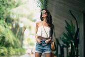to bruck ave,blogger,top,shorts,bag,denim shorts,round bag