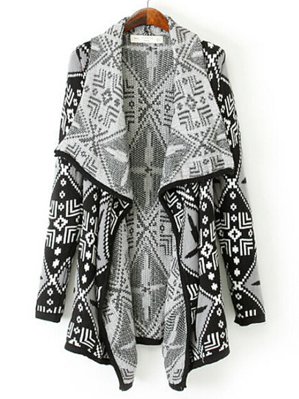 geometric cardigan black contrast white knitwear asymmetric coat cocoon