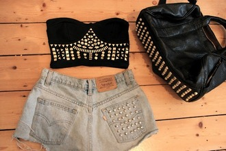 top studs leather leather bag studded bag bustier crop tops studded bustier shorts denim studded shorts