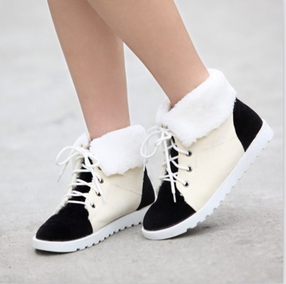 colour block shoes fur white black fur embellished lace up sneakers