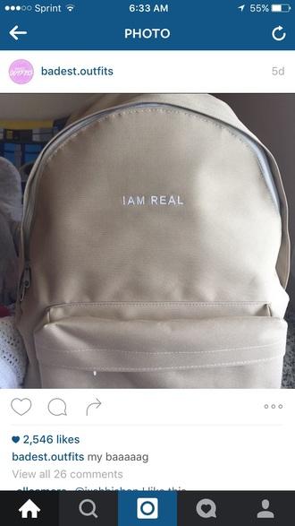 bag real tan backpack bookbag