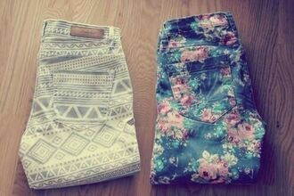 pants aztec flowers colorful jeans