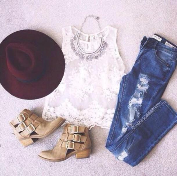 blouse jeans hat