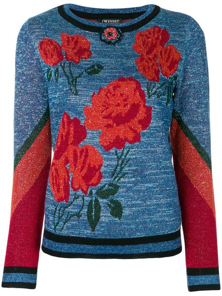 jumper metallic women floral blue pattern sweater