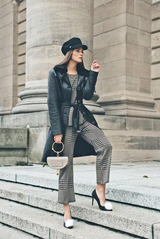 coat tumblr leather coat black coat fur collar coat pants grey pants bag handbag fisherman cap shoes pumps