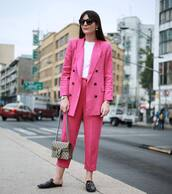 pants,tumblr,sunglasses,cropped pants,pink pants,blazer,pink blazer,matching set,power suit,office outfits,work outfits,shoes,black shoes,bag,chain bag,t-shirt,white t-shirt