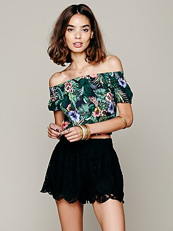 Free people scalloped lace skort
