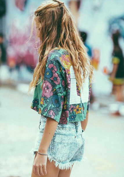 T Shirt Top Floral T Shirt Jersey Tee Shirt Boho Shirt Floral Bohemian Cute Fashion