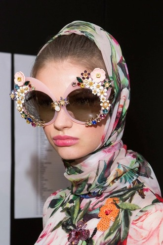 sunglasses fashionholic style embellished pink sunglasses sunnies oversized printed scarf
