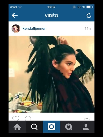 jacket black jacket kendall jenner cuir indian fringed jacket