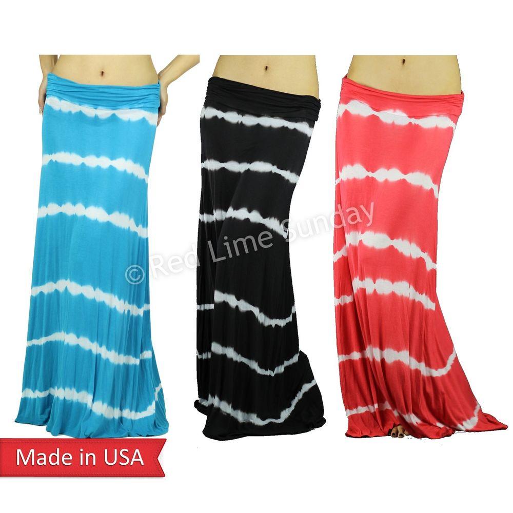 Sky Blue White Stripe Tiedye Boho Hippie Gypsy Side Gathered Long Maxi Skirt USA