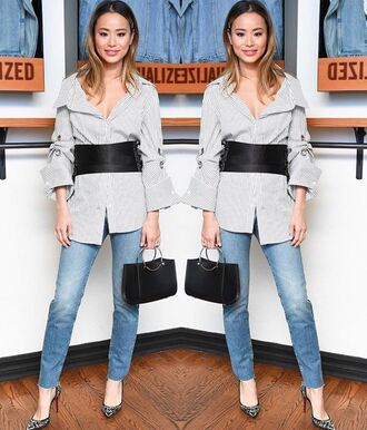 shirt jeans belt jamie chung instagram spring outfits blogger