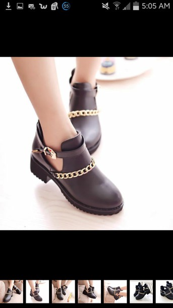 shoes grunge ankle boots black punk gold