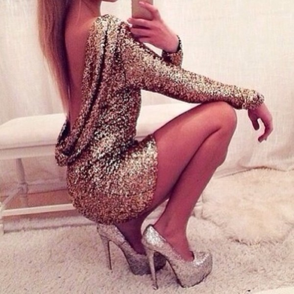 dress gold sequin dress beautiful model tumblr