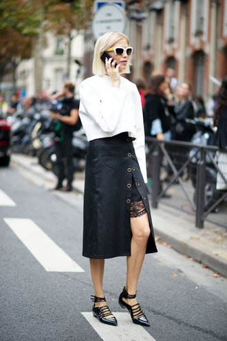 le fashion image blogger sunglasses skirt white blouse long sleeves leather pants slit skirt lace up black flats