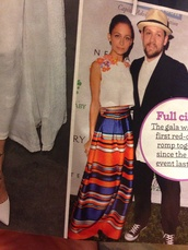 orange dress,nicole richie,silk,satin,blue skirt,style,maxi skirt,stripes,striped skirt,top