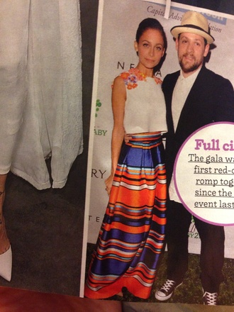 nicole richie style top silk orange dress satin blue skirt maxi skirt stripes striped skirt