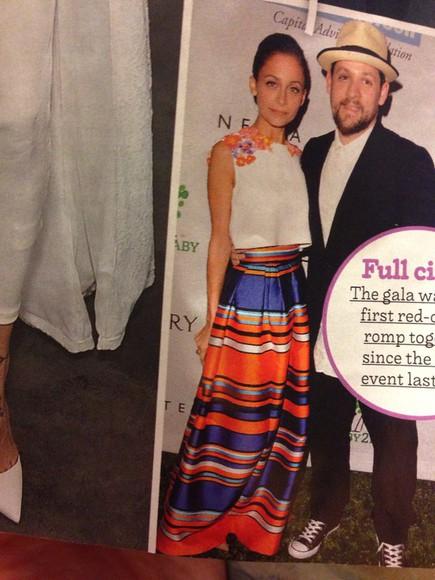 striped skirt blue skirt maxi skirt stripes style top orange dress nicole richie silk satin