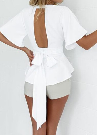 top blouse bow cute sexy open back chiffon shorts
