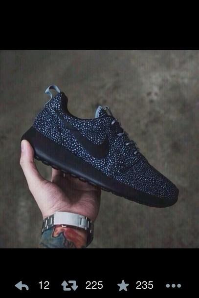 Nike Roshe Black and White Polka Dots