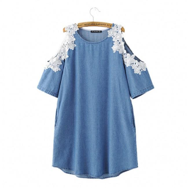 Lace Cold Shoulder Denim Dress