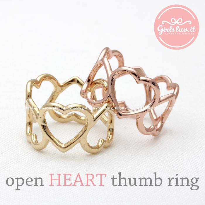 Open heart thumb ring, 2 colors