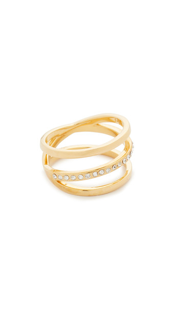 Vita Fede Helix Crystal Ring - Gold/Clear