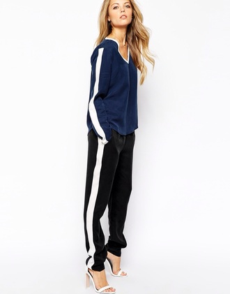 jumpsuit asos jumpsuit style stripes joggers shirt high heels asos