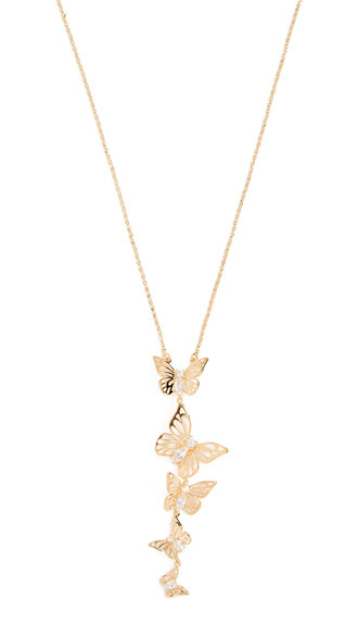 butterfly necklace pendant clear gold jewels