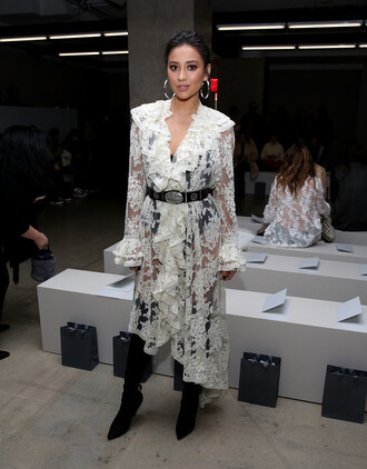 dress shay mitchell fashion week 2017 ny fashion week 2017 lace dress white dress white lace dress belt see through dress nyfw 2017