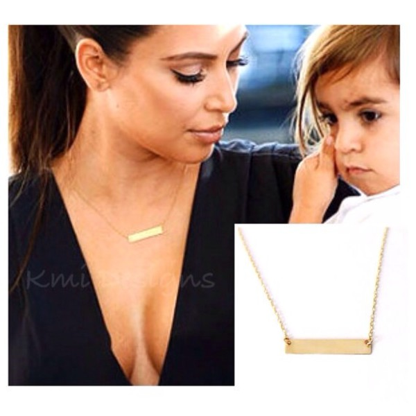 jewels gold jewelry gold chain kim kardashian necklace gold bar necklace fashion summer outfits camila estrella