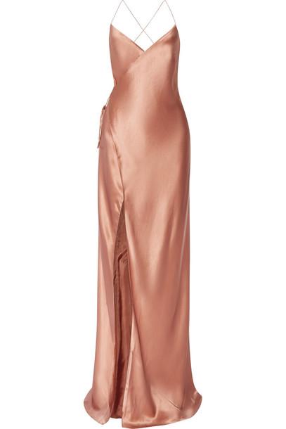 Michelle Mason Silk-Satin Wrap Gown in rose
