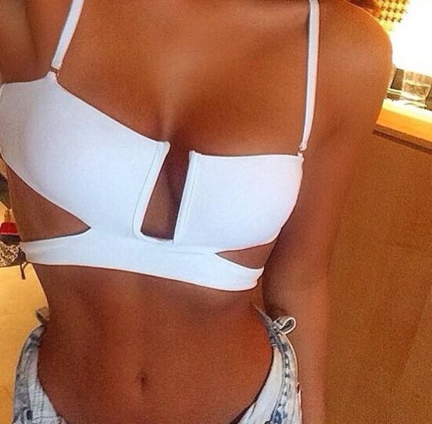 top white cutout bikini top underwear swimwear