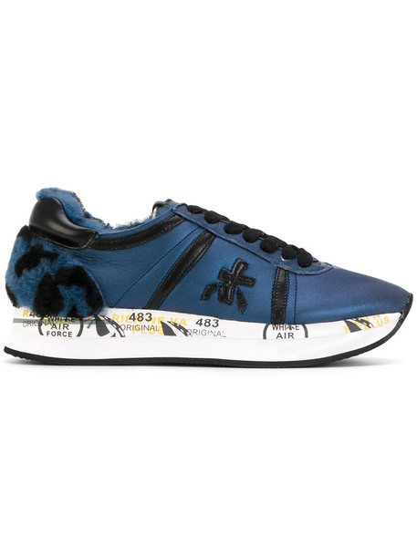 Premiata women sneakers leather cotton blue shoes
