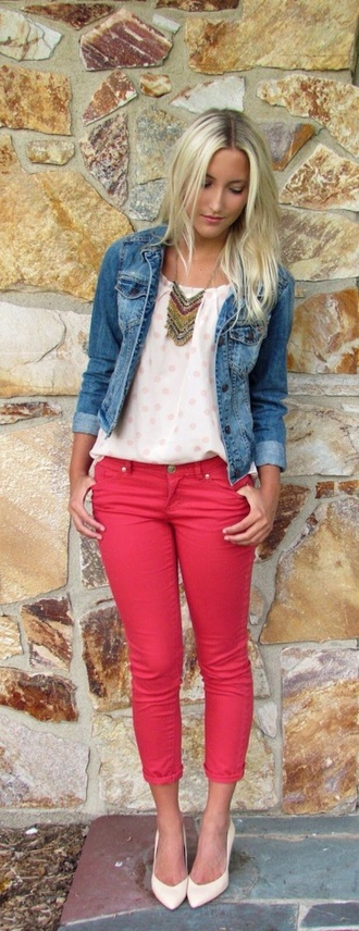top polka dots while outfit jeans denim jacket
