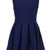 ROMWE | Sleeveless Pleated Zippered Deep Blue Dress, The Latest Street Fashion